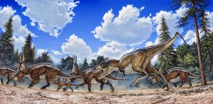 Michael Skrepnick contributed several paintings for the book, such as this one of daspletosaurus attacking an Einiosaurus herd.
