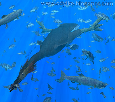 Hesperornis, a larger version of Baptornis, and a few Enchodus feeding on some herring-type fish. Picture by Craig Dylke.